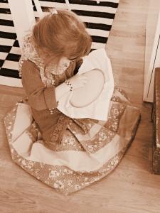 S learns needlework