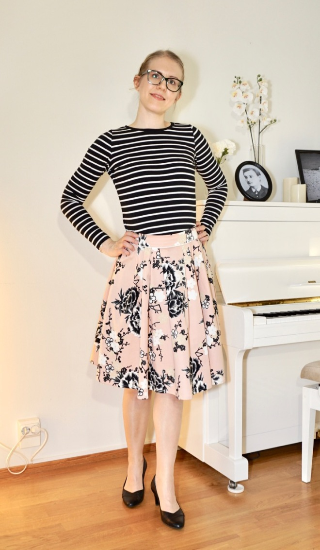 Colette Zinnia skirt with a stripy top.